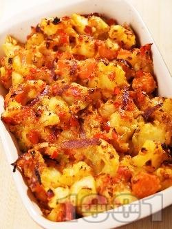 Запечени картофки с червена чушка и пармезан - снимка на рецептата